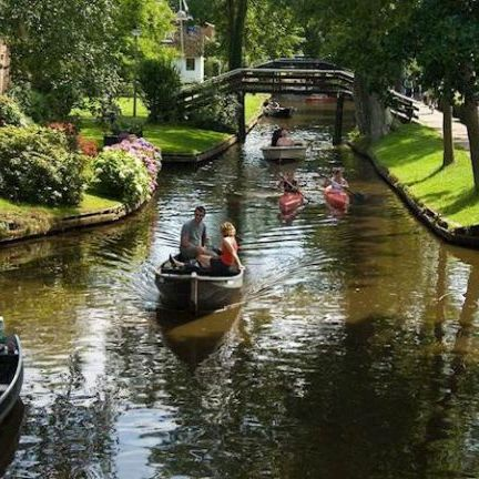 Boats on the canal in Giethoorn