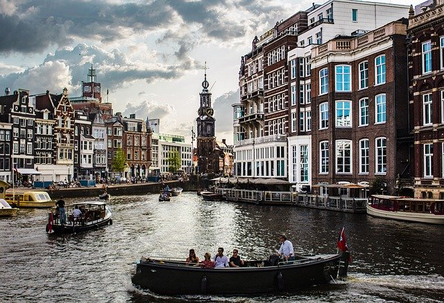 View over water in Amsterdam