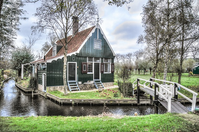 Typical green-timbered house with bridge in Marken