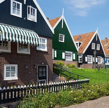 Typical green-timbered houses in Marken