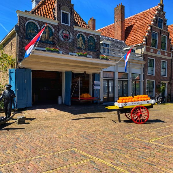 Cozy square in Volendam with cheese