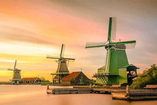 Windmills of Zaanse Schans at sunset